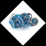 Barrette cheveux en fil aluminium turquoise argent, perles strass