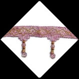 Galon rose et doré frange perlée 7.5 cm vendu au mètre GAL037