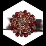 Grosse bague élastique 3D strass nuances de rose métal doré BAG179