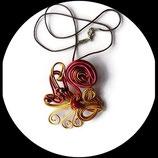Collier ras du cou fil aluminium rouge doré perles pendentif artisanal