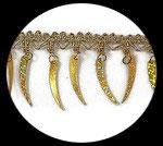 Galon doré à sequins plumes irisées or 5 cm GAL083