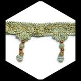Galon vert et doré frange perlée 7.5 cm vendu au mètre GAL038