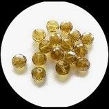 Perles de verre à facettes irisées jaune transparent 10 mm X 13 perles Réf : 861.