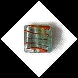 Perles de verre  palet carré à feuille d'argent  20 X 20 mm  transparent vert turquoise vendu à l'unité Réf : 1060