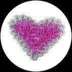 Applique coeur fleurs organza violet/rose, sequins et galon argent APP065