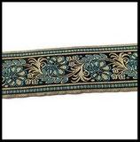 Galon tissé brillant or, turquoise et noir 5 cm vendu au mètre GAL046