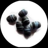 Perles de verre bicolore noir et blanc  14 X 10 mm, lot de 8 perles Réf : 895.