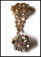 Ensemble bracelet bague fleur strass naturels, métal doré BRA015