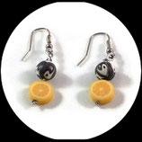 Boucles oreilles enfant citron fil aluminium argent, perles fimo