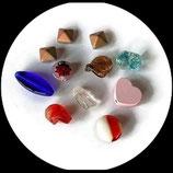 Perles  mélange x 11 perles  - lot 11 perles divers formes, divers matières pour création de bijoux Réf  : 1408