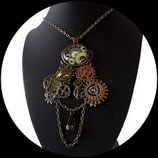 steampunk collier pendentif secret love engrenages