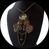 steampunk collier pendentif secret love engrenages