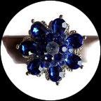 Grosse bague élastique fleur 3D strass bleu royal métal argenté BAG163