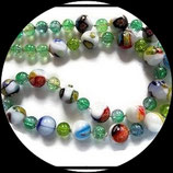 collier ras du cou perles craquelées et perles de verre multicolores - bijou fait main