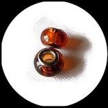 Perle style pandora ®  14 x 9 mm marron transparent Réf : 233