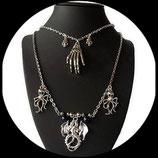 collier steampunk gothique métal argenté double chaînes dragon pieuvres main squelette cranes fait main