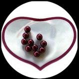 lot de 10 perles nacrées bordeaux 8 mm création bijoux Réf : 1523