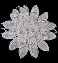 Applique grosse fleur blanche perles nacrées 10x10 cm APP081