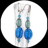 Boucles oreilles perles de verre bleues et turquoises. BO022
