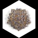 Broche ronde métal doré à strass naturels BRO099.