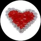 Applique coeur fleurs organza rouge, sequins et galon argentés APP067
