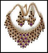 Parure collier et boucles d'oreilles dorés strass violets, gris, noirs - Plastron PAR017