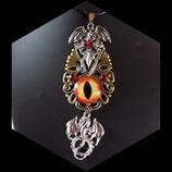 """Collier steampunk """" l'oeil des dragons de feu """" fait main."""