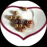 lot de 14 perles de verre nacrées or, marron/beige 8 mm création bijoux Réf : 1563