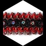 Galon noir et rouge 3.5 cm GAL065