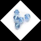 Toupie ou bicone bleu, perle de verre transparente 6 mm X 5 perles Réf : 869