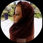 Cagoule hijab marron adulte + bandeau large pour costume CAG004