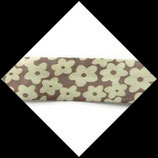 Biais replié 20 mm polyester fleurs écru fond marron pastel BIA008