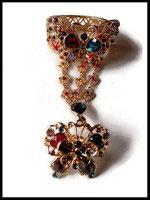 Bracelet parure bague papillon strass multicolores, métal doré BRA016