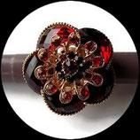 Grosse bague élastique 3D strass rouges métal doré BAG111