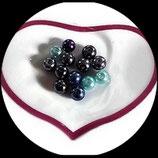 lot de 13 perles de verre nacrées bleu, gris, violet 8 mm création bijoux Réf : 1562