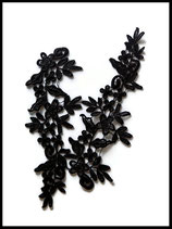 Applique fleurs brodées dentelle noire. Lot de deux  APP056