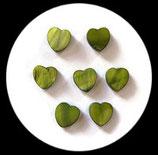 Perles de verre coeur nacré vert. Lot de 6 perles. PER262