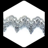 Dentelle argent Organza perlée Perles Paillettes 6 cm X 1 m DEN003