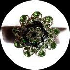 Grosse bague élastique 3D strass verts métal argenté BAG162