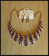 Parure dorée collier et boucles d'oreilles strass bleu royal et argent PAR001