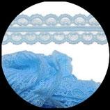 Dentelle polyester bleu clair 4.5 cm X  9 m. DEN027