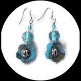 boucles oreilles percées turquoise argent fleur perles artisanales