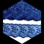 Dentelle brodée fleurs organza bleu royal 4 cm DEN095