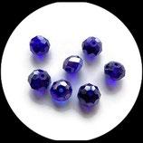 perles de verre à facettes bleu  irisé  8 X 10 mm X 7  - lot de 7 perles à facettes - création de bijoux - Réf : Réf : 1410