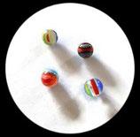Perles verre mêlé 10 mm . Lot de 4 perles. PER251