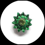 Bouton snap fleur verte strass  18 mm - Réf: 1450
