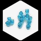 Bicone ou toupie turquoise , perle de verre transparente 8 mm X 13 perles Réf : 871