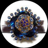 Grosse bague élastique 3D fleur strass 3 nuances de bleu métal doré BAG152