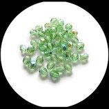 perles verre facettes 4 mm vert irisé - lot 50 perles à facettes création de bijoux - Réf : 1429