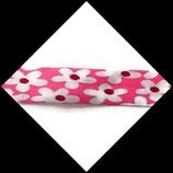 Biais replié 20 mm polyester fleurs fond rose BIA001